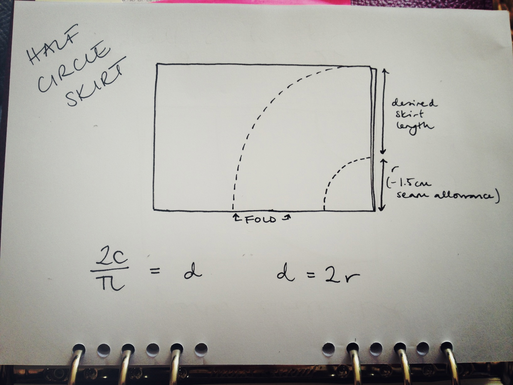 Circle skirt maths explained by hand london example ccuart Gallery